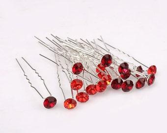 20pcs x 8mm RED MIX Glass Crystal Rhinestone Diamante Wedding Bridal Hair Pin