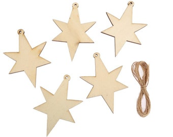 10 x Wooden Christmas STAR, Wedding Decoration Embellishment