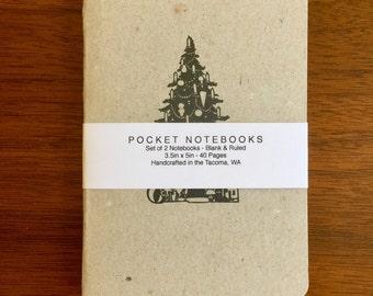 Christmas Tree Notebooks 2 pack 3.5in x 5in Pocket Notebook handcrafted journal diary sketchbook handmade kraft Premium Notebook no logos