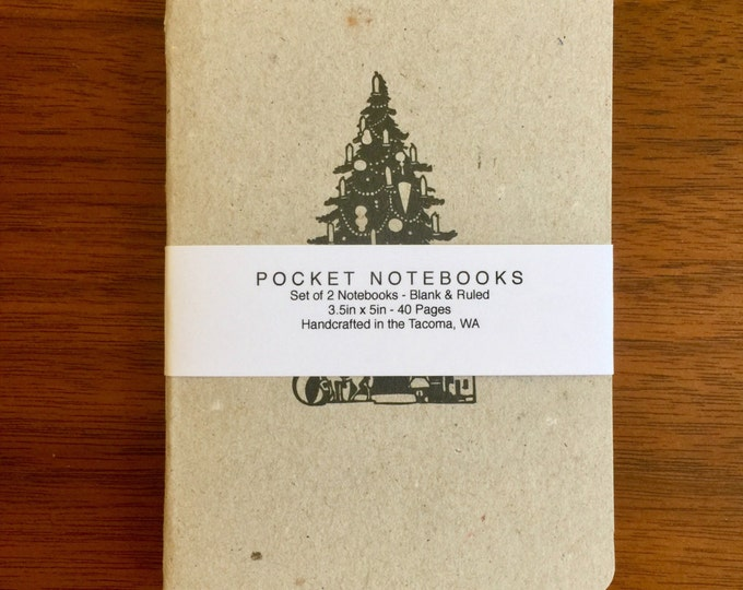 Christmas Tree Notebooks 2 pack 3.5in x 5in Pocket Notebook handcrafted journal diary sketchbook handmade kraft Premium Notebook no logos