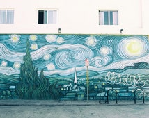 Venice Beach Mural, Street Art Photography, Graffiti Art, Los Angles, Fine Art Print, Urban Decor, teal blue green Wall Art