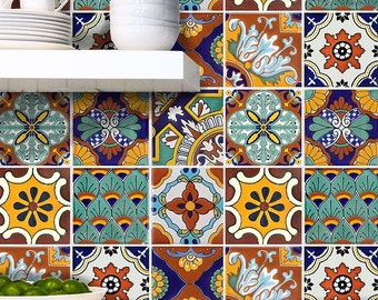 Tile Stickers For Kitchen Bath Or Floor Waterproof Tr008 Spanish Mexican  Talavera TR008