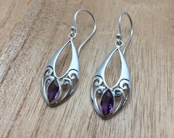 Amethyst Earrings // Bali Amethyst Earrings // Dangly Amethyst Earrings // 925 Sterling Silver // Hypoallergenic // Bali Swirl Setting