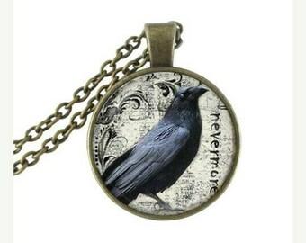 Poe Raven Blackbird pendant