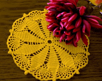 Yellow Poinsettia Crocheted Doily, 9.5 inches