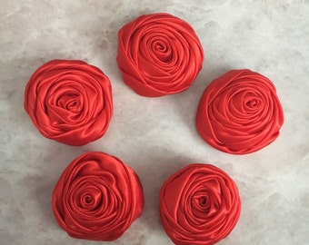 2 inch red rosette, red satin flowers, headband supplies, roses, headband flowers, wedding flowers, silk flowers, rolled flowers, tan