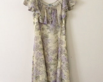 Vintage Laura Ashley Floral Silk Dress 10 12