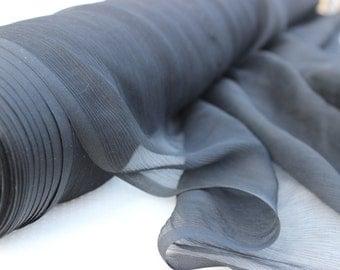 Crinkle Black Chiffon Fabric by the Yard, Fabric Yardage, Chiffon by the Yard, Fabric by the Yard