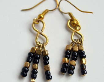 Beautiful upcycled Summer style black glass and metal beads drop handmade earrings