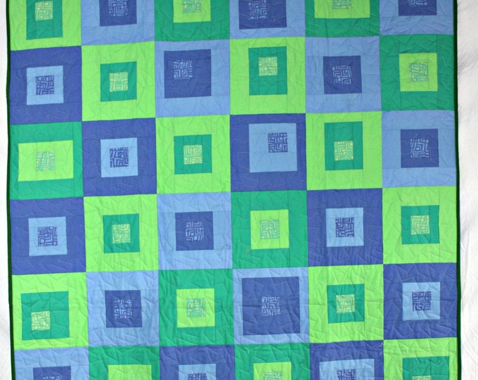 Featured listing image: Modern Throw Quilt, Green Quilt, Blue Quilt, Modern Quilt, Green Lap Quilt, Blue Lap Quilt, Q023 Green and Blue Boxes Quilt
