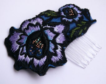 Violet rose headpiece. Hairpin. Embroidered headpiece. OOAK.