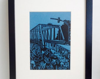 "Bridge Crossing handmade linocut print 5x7"", unframed (lake blue) -  home decor, wall art, made in Michigan, birthday gift, printmaking"