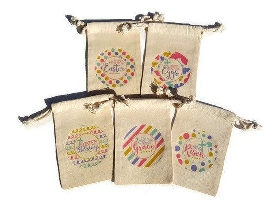 Religious easter gift bags set of 10 muslin 4x6 he is risen amazing il570xn negle Image collections