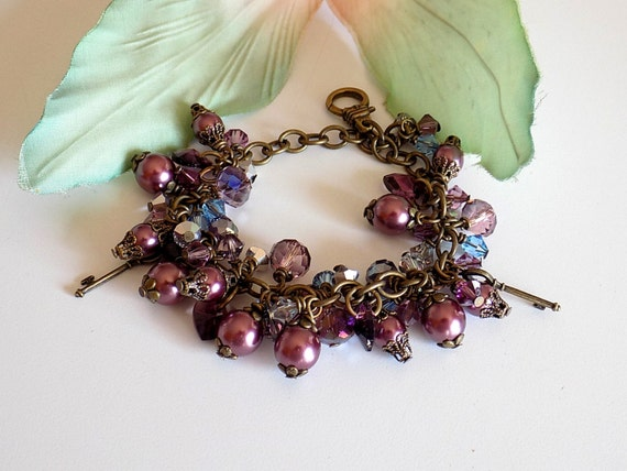 Purple Beaded Bracelet Marsala Charm Bracelet Swarovski Crystal Bracelet Victorian Jewelry Edwardian Jewelry Downton Abbey