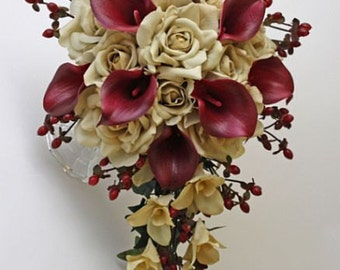 Champagne/tan/beige, burgundy, bouquet, Real Touch flowers, silk, wedding, calla lily/lilies, berries, rose/roses, Bride, Groom, set