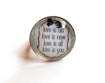 ring love love cabochon glass Adjustable ring