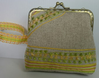 Purse vintage linen with yellow fantasies and anise