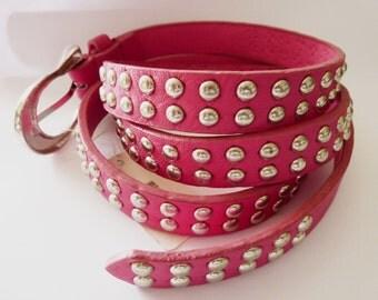 studded Belt pink silver Punkrock Accessories