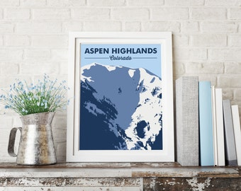 Aspen Highlands ~ Ski Highland Bowl ~ Ski Art Print ~ Aspen Highlands CO ~ Colorado Art ~ Aspen CO Art Print ~ Aspen Poster ~ Skiing Art