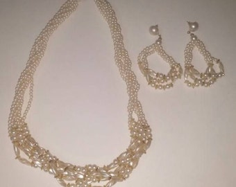 Vintage Multi Strand Faux Pearl Necklace with Matching Earrings / Pierced Earrings / Costume Jewelry / Estate Jewelry