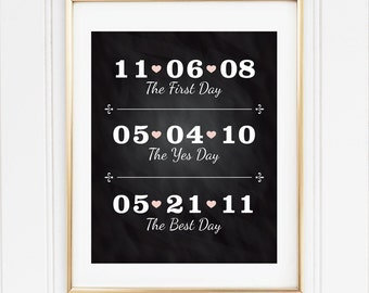 Chalkboard Wedding Date, The First Day, The Yes Day and The Best Day, 8x10 Custom Print