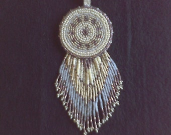 Beaded medallion and earrings set