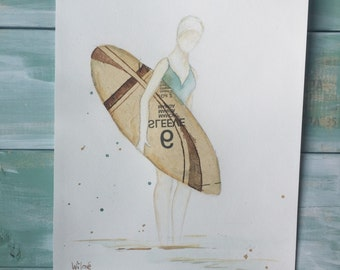 Surfing - original vintage beach art bathing beauty