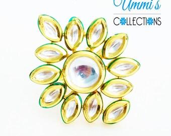 Golden Kundan Stone Finger Rings Jewelry