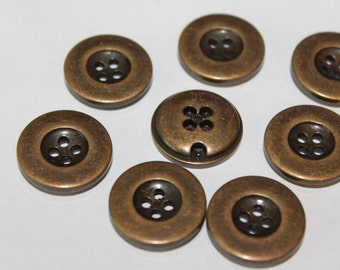 Old brass color metal buttons, round 4 hole 20 mm vintage look buttons, sewing, button arts and crafts, lot of 15