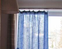 Vintage Curtain Panel; Bright Blue & Purple Woven Fabric Curtains;  Middle Blue / Cyan / Purple Curtains Vtg; Blue Home Decor / Window Decor