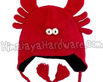 Knit Wool Red Crustacean Crab/Lobster Beanie Hat