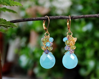 Multi Gemstone Cluster Earrings.Aqua Chalcedony Dangle Earrings.Amethyst.Peridot.Citrine.24K Gold plated.Statement.Bridal.Sky Blue.Handmade.