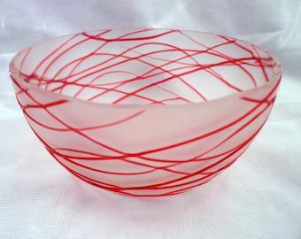 Rare Victorian Antique Art Glass Finger Bowl, Red Threaded Satin Glass