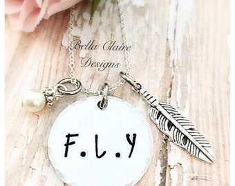 FLY Necklace, First Love Yourself Necklace, Love Yourself First Inspirational Necklace, FLY Jewelry, First Love Yourself Jewelry, FLY Name
