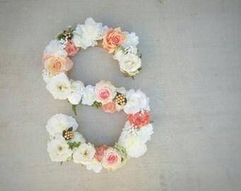 Flower Monogram, Silk Flower Monogram, Flower Initial, Wedding Monogram, Silk Flowers, Monogram Letter, Flower Letter, Nursery Monogram