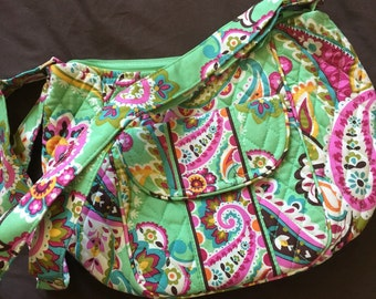 Vera Bradley tote purse Green and pink