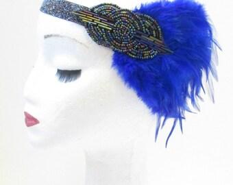 Blue Dark Silver Feather Headband 1920s Headpiece Flapper Great Gatsby Vtg V12