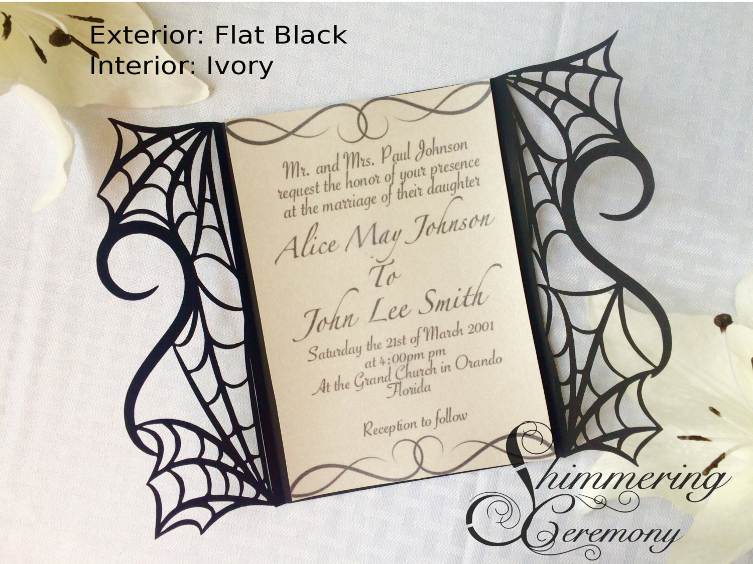 gothic spiderweb halloween wedding invitation laser cut