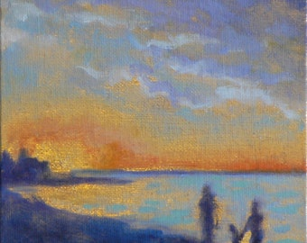 Sunset Small Gold Beach Oil Painting 6x6