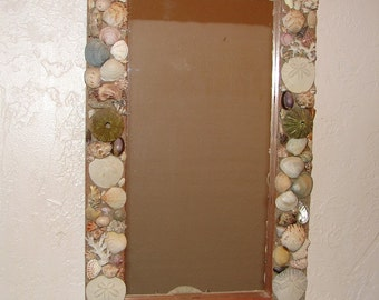 "Sea shell Mirror 22"" x 13"" with pink sea urchins, sand dollars, coral and a variety of seashells beach decor ocean decor nautical decor"