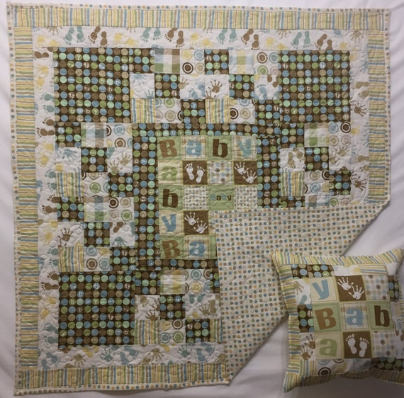 In stock baby crib quilt or floor throw with free pillow case for Floor quilt for babies