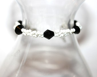 Bicone Beaded Bracelet - Black/White - Comes with Gift Bag