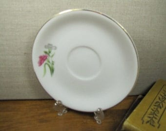 Large Saucer - Pink Carnation - White and Gray Carnation - Gold Accent