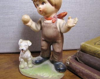 Vintage Porcelain Figurine - A Boy and His Dog