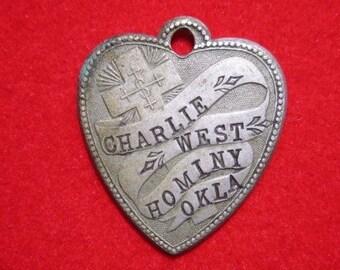 Sweetheart Charm, Heart Shaped, Vintage, Hominy, Oklahoma, 1914