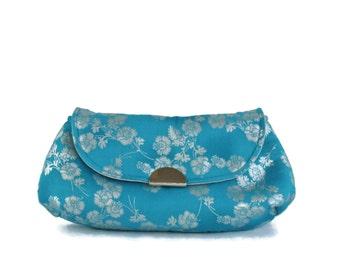 Clutch, Evening Bag, Small Fabric Purse, Fabric Clutch, Blue and Silver Clutch, Vegan Bag