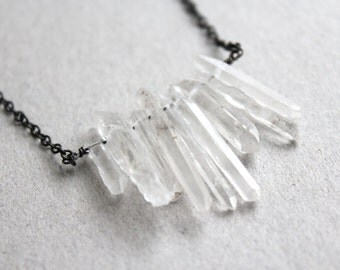 clear rock quartz necklace. raw crystal point shard. natural gemstone. oxidized sterling silver jewelry.  women gift. (icy blast. necklace)