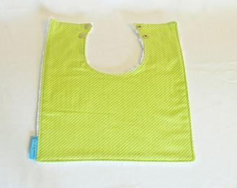 Feeding Bib| Square Bib, baby shower gift, baby bib, toddler bib, modern bib, infant bib, cotton, snap closure |Green Stripe|