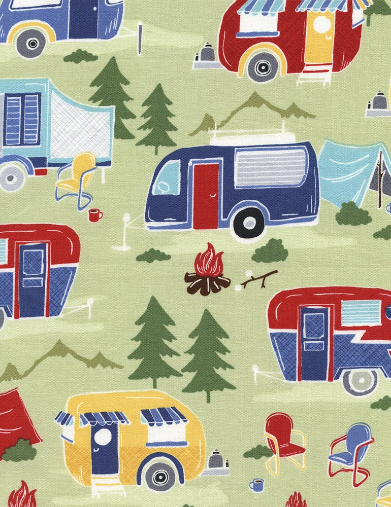 camping fabric  camper fabric  campers by timeless treasures  green  cotton  1 yard from