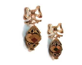 Gold Bow Earrings - Bow Earrings - Vintage Gold Earrings - Vintage Earrings - Gold Dangle Earrings - Gold Earrings - Dangle Earrings